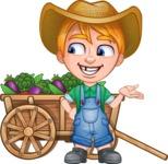 Little Farm Kid Cartoon Vector Character AKA Curtis the Farm's Menace - Cart vegetables