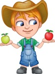 Little Farm Kid Cartoon Vector Character AKA Curtis the Farm's Menace - Apples 1
