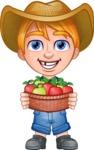 Little Farm Kid Cartoon Vector Character AKA Curtis the Farm's Menace - Apples 2