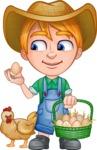 Little Farm Kid Cartoon Vector Character AKA Curtis the Farm's Menace - Chicken and eggs 1