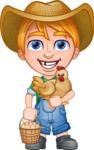 Little Farm Kid Cartoon Vector Character AKA Curtis the Farm's Menace - Chicken and eggs 2
