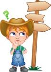 Little Farm Kid Cartoon Vector Character AKA Curtis the Farm's Menace - Crossroad