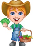 Little Farm Kid Cartoon Vector Character AKA Curtis the Farm's Menace - Money and vegetables 1