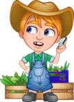 Little Farm Kid Cartoon Vector Character AKA Curtis the Farm's Menace - Boxes and vegetables 3