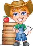 Little Farm Kid Cartoon Vector Character AKA Curtis the Farm's Menace - Boxes 3