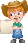 Little Farm Kid Cartoon Vector Character AKA Curtis the Farm's Menace - Sign 3