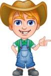 Little Farm Kid Cartoon Vector Character AKA Curtis the Farm's Menace - Point