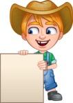Little Farm Kid Cartoon Vector Character AKA Curtis the Farm's Menace - Sign 7