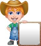 Little Farm Kid Cartoon Vector Character AKA Curtis the Farm's Menace - Sign 8
