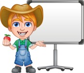Little Farm Kid Cartoon Vector Character AKA Curtis the Farm's Menace - Presentation 1