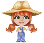 Cute Little Kid with Farm Hat Cartoon Vector Character AKA Mary - Pointing and Smiling
