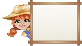 Cute Little Kid with Farm Hat Cartoon Vector Character AKA Mary - With Whiteboard and Smiling