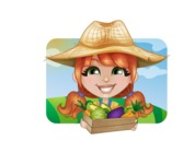 Cute Little Kid with Farm Hat Cartoon Vector Character AKA Mary - Illustration on a Sunny Day with Fields Background