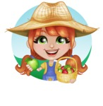 Cute Little Kid with Farm Hat Cartoon Vector Character AKA Mary - Holding Apples with Outdoor Background Illustration