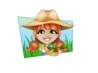 Cute Little Kid with Farm Hat Cartoon Vector Character AKA Mary - With Vegetables and Simple Sunny Background Illustration
