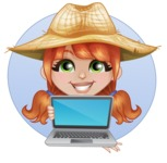 Cute Little Kid with Farm Hat Cartoon Vector Character AKA Mary - Being Modern with Laptop Illustration with Background