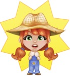 Cute Little Kid with Farm Hat Cartoon Vector Character AKA Mary - Wondering with Minimalistic Background Illustration
