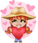 Cute Little Kid with Farm Hat Cartoon Vector Character AKA Mary - Showing Love with Hearts Background Illustration