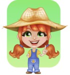 Cute Little Kid with Farm Hat Cartoon Vector Character AKA Mary - Making a Point with Flat Background Illustration