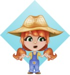 Cute Little Kid with Farm Hat Cartoon Vector Character AKA Mary - With Confused Face Illustration with Flat Background