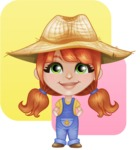 Cute Little Kid with Farm Hat Cartoon Vector Character AKA Mary - with Colorful Flat Background