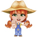 Cute Little Kid with Farm Hat Cartoon Vector Character AKA Mary - Finger pointing with angry face