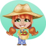 Cute Little Kid with Farm Hat Cartoon Vector Character AKA Mary - With Fruits and Simple Shape Circle Background