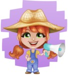 Cute Little Kid with Farm Hat Cartoon Vector Character AKA Mary - Talking with Loudspeaker and Flat Background Illustration