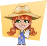 Cute Little Kid with Farm Hat Cartoon Vector Character AKA Mary - With Notepad Checking the Production and Simple Flat Background