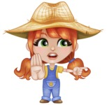 Cute Little Kid with Farm Hat Cartoon Vector Character AKA Mary - Pointing with a Finger