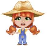 Cute Little Kid with Farm Hat Cartoon Vector Character AKA Mary - Feeling Sorry