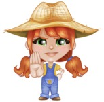 Cute Little Kid with Farm Hat Cartoon Vector Character AKA Mary - Making stop with a hand