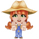 Cute Little Kid with Farm Hat Cartoon Vector Character AKA Mary - Making stop gesture