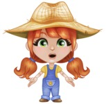 Cute Little Kid with Farm Hat Cartoon Vector Character AKA Mary - With Stunned Face