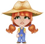 Cute Little Kid with Farm Hat Cartoon Vector Character AKA Mary - With Sad Face