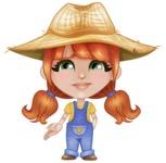 Cute Little Kid with Farm Hat Cartoon Vector Character AKA Mary - Feeling Sad