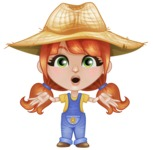 Cute Little Kid with Farm Hat Cartoon Vector Character AKA Mary - Feeling Shocked