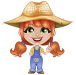Cute Little Kid with Farm Hat Cartoon Vector Character AKA Mary - Making a Point