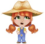 Cute Little Kid with Farm Hat Cartoon Vector Character AKA Mary - Rolling Eyes