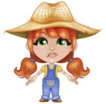 Cute Little Kid with Farm Hat Cartoon Vector Character AKA Mary - Feeling Lost with Sad Face