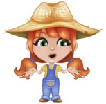 Cute Little Kid with Farm Hat Cartoon Vector Character AKA Mary - Feeling Confused and Lost