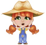 Cute Little Kid with Farm Hat Cartoon Vector Character AKA Mary - With Confused Face