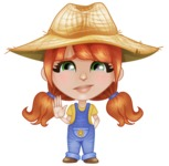 Cute Little Kid with Farm Hat Cartoon Vector Character AKA Mary - Waving for Goodbye with a Hand