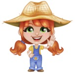 Cute Little Kid with Farm Hat Cartoon Vector Character AKA Mary - Waving for Hello with a Smiling Face