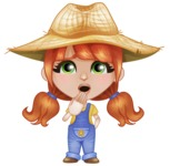 Cute Little Kid with Farm Hat Cartoon Vector Character AKA Mary - Making Oops gesture
