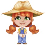 Cute Little Kid with Farm Hat Cartoon Vector Character AKA Mary - Waiting