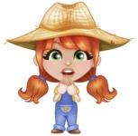 Cute Little Kid with Farm Hat Cartoon Vector Character AKA Mary - With Blank Face