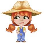 Cute Little Kid with Farm Hat Cartoon Vector Character AKA Mary - Feeling Bored