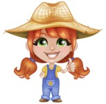 Cute Little Kid with Farm Hat Cartoon Vector Character AKA Mary - Giving Thumbs Up