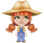 Cute Little Kid with Farm Hat Cartoon Vector Character AKA Mary - Being Tired